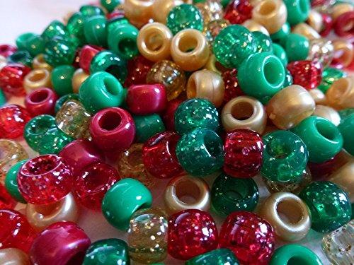 500x Pony Perlen 9mm x 6mm Weihnachten Sparkle Mix Rot Grün Gold Silber Armbänder Flechten Clips Haar Farbe Acryl Kunststoff, fassförmig, rund–Perlen und Charms