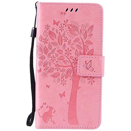 Cozy Hut [New Style] Sony Xperia M4 Aqua Hülle in Katze und Baum muster seitlich aufklappbare Schutzhülle / integrierte Kartenfächer / Klapptasche Etui Wallet Stil Handy Tasche - rosa