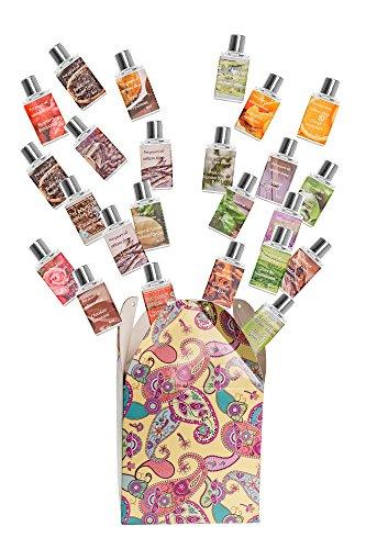 Gesamteffekt Aromatherapie Premium-Qualität Duftöl. Große Auswahl an verschiedenen Düften - Geschenkset von 24 / 8ml Flaschen. Schokoladen, Sandelholz, Mandarin, Erdbeere, Jasmin, Patchouli, Grüner Tee-Rasbury, Apfel, Eycaliptus, Vanilla, Lavendel, Cinammon, Basilikum, Kaffee, Chic Blossom, Ginger & Vanille, Weisser Tee, Frischer Baumwolle, Apfel, Torte (Aromatherapie-kerze Patchouli)