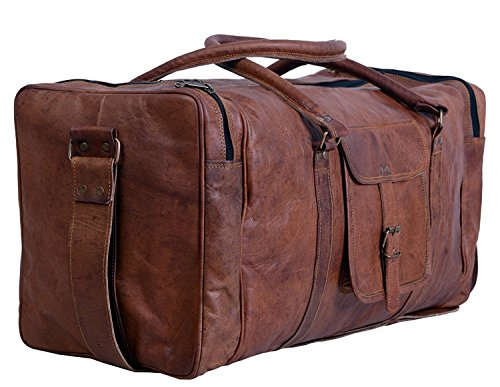 S-bazar Byto Sac Bandoulière Vintage Fourre-tout de voyage en cuir véritable Unisexe marron