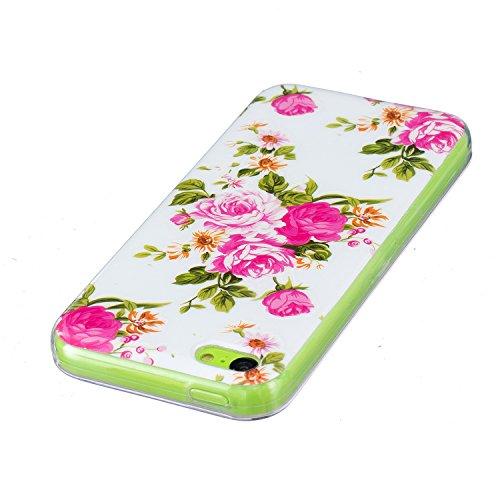 iPhone 5C Hülle, E-Lush TPU Soft Silikon Tasche Transparent Schale Clear Klar Hanytasche für Apple iPhone 5C Durchsichtig Rückschale Ultra Slim Thin Dünne Schutzhülle Weiche Flexibel Handyhülle Kratzf Pivoine