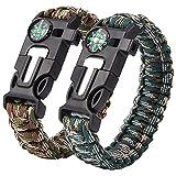 Quner 2er Salvataggio di emergenza braccialetto paracord di sopravvivenza Bracciale con bussola, Corda, Pietra Focaia, Fischietto, Coltello per escursionismo Outdoor