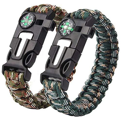 Quner 2er Notfall Paracord Armbänder Survival-Armband mit Kompass,Rettungsseil,Feuerstein, Trillerpfeife, Messer für Wandern Outdoor