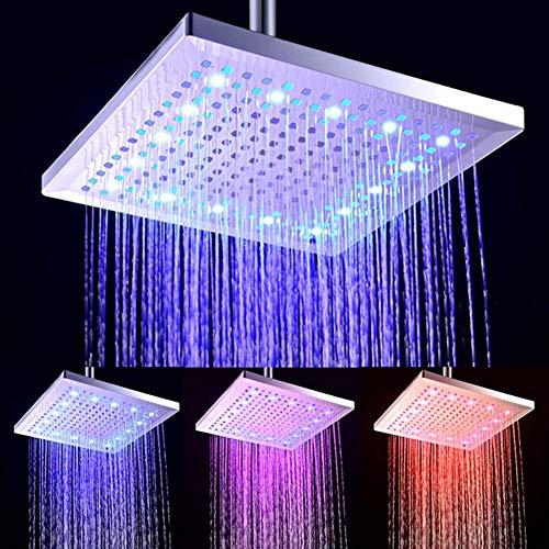 Preisvergleich Produktbild Actoor Duschköpfe mit LED-Leuchten,  Top Spray Ultra Dünn ABS Technische Kunststoffe Blau,  Rosa und Rot ändern Sich mit der Temperatur Badezimmerarmaturen 30 cm * 30 cm
