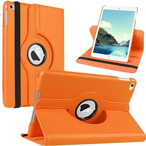 Nouveau design orange en PU imitation cuir avec support rotatif à 360° Étui pour iPad Mini 2/iPad mini/iPad