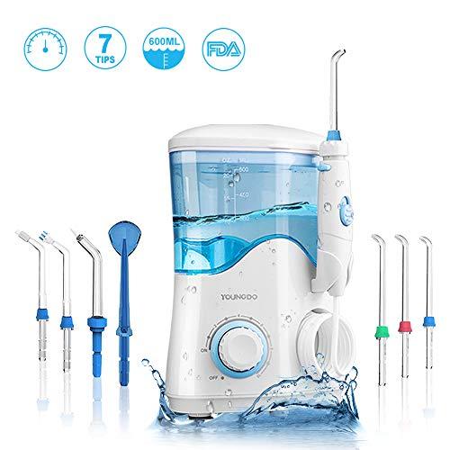YOUNGDO Hydropulseur Jet Dentaire 600ML, Irrigateur Oral Professionnel Rechargeable 10 Niveaux Pressions D'eau, Hydropulseur Jet dentaire avec 7 Buses de rechange pour Soins Hygiène de Dents