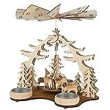 Weihnachts-Pyramide Rehe im Wald mit Teelichthaltern, H: 19cm, natur, gelasert