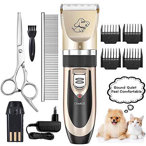 VGROUND Kit Tosatrice Professionale per Cani e Gatti, Tosatore Tagliacapelli Elettrico Ricaricabile, Silenzioso Basso Rumore con 4 Pettine per Animali