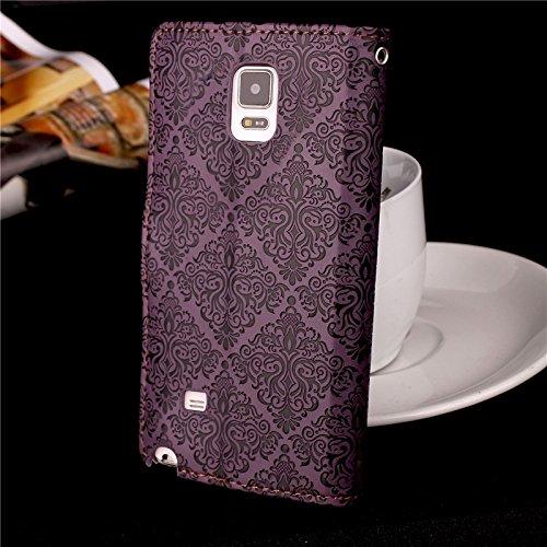 YHUISEN Galaxy Note 4 Case, Magnetverschluss European Style Wandgemälde Prägeartig PU Leder Flip Wallet Case Mit Stand Und Card Slot Für Samsung Galaxy Note 4 ( Color : Rose ) Purple