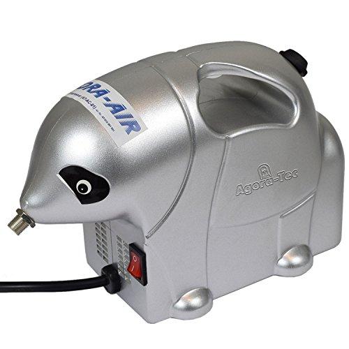 Agora-Tec Agora-Tec® AT- Airbrush Compressor AT-AC-01, Kompressor für Airbrushanwendungen im Elefanten-Style mit 2,8 bar und 13l/min, inkl. Pistolenhalterung
