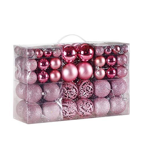 Deuba palline di natale 100 pezzi palline natalizie decorazioni natale palle albero di natale decorazione natalizia rosa