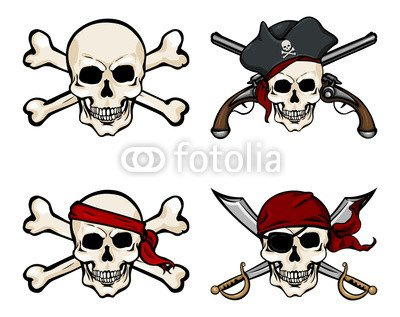 alu-dibond-bild-110-x-90-cm-vector-cartoon-pirate-skull-in-red-bandana-with-cross-swords-bild-auf-al