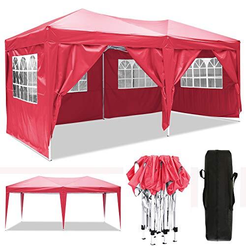 3x3m/3x6m Faltpavillon, Pavillon, wasserdicht gartenpavillon, festzelt partyzelt hochklappbare Gazebo Festival Sonnenschut (3x6m, Rot)