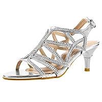 SheSole Ladies Womens Rhinestone Wedding Heels Dress Sandals Prom Shoes Silver UK Size 7