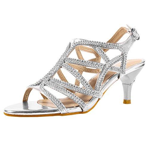 SheSole Damen Knöchel-Riemchen Heels Sandalen Strass Riemchensandaletten Hochzeit Schuhe Silber 40 (Hochzeit Schuhe Silber)