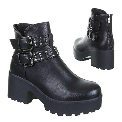 Ital-Design Damen Schuhe, B15008, Boots Schwarz