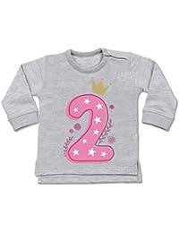 Shirtracer Geburtstag Baby - 2. Geburtstag Mädchen Krone Sterne - Baby Pullover