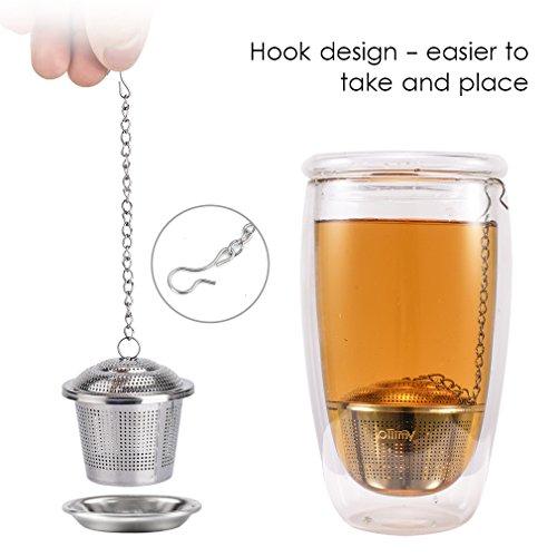 Tee-ei Sieb Edelstahl Sieb für losen Blatt-Tee Ollimy Teefilter Kaffee und Auffangwannen (2 Stück) geeignet für jeden losen Tee und alle Tee-Blätter - 4