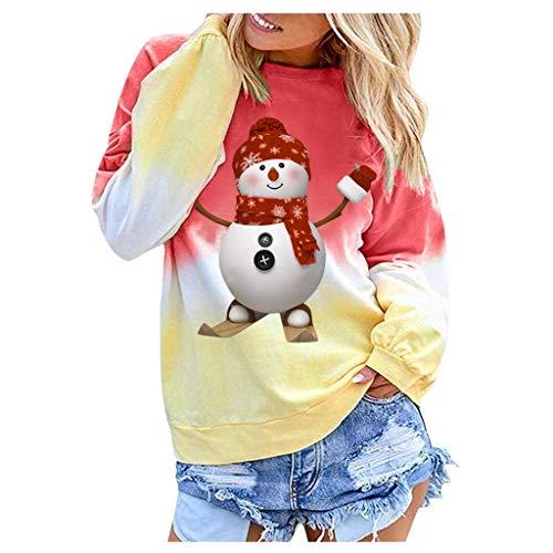 TOPGKD Weihnachten Kapuzenpullover Damen Kapuzenpullover Sweatjacke Sweatshirt Langarm Weihnachtsmann Sonnenbrillen Drucken Kapuzenpullis Winterpullover Jacke Mantel (Rot, XXL)