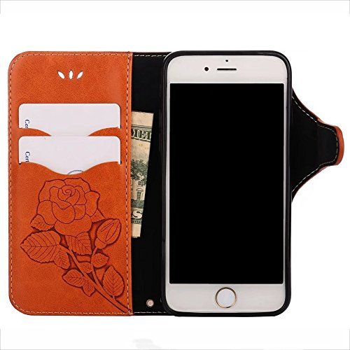 GR Embossed Flip Stand Case Retro PU-Leder Magnetverschluss Brieftasche Pouch Case Cover mit Lanyard für iPhone 7/8 ( Color : Orange ) Orange