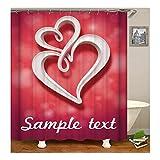 Amody 3D-Digitaldruck Double Hearts Sample Text Duschvorhang Badezimmer Vorhang Dauerhaft Wasserdichter Badvorhang Bunten Größe 180X180Cm