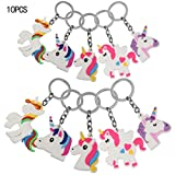 Unicorn Porte-clés,KAKOO 10 pcs Unicorn Design Porte-clés pour enfants Prix Cadeau