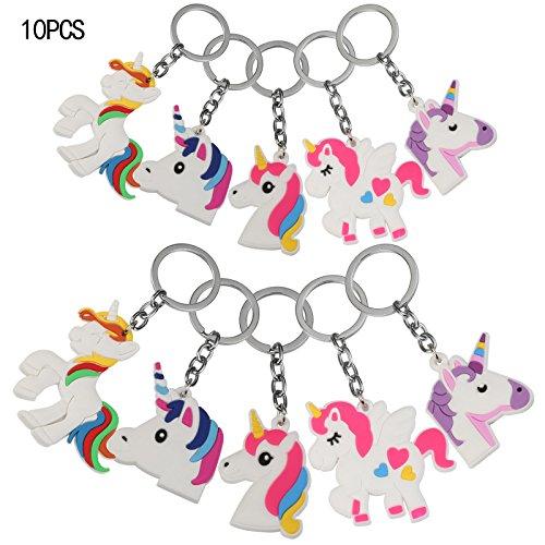 10er Regenbogen Schlüsselanhänger,KAKOO Silikon Einhorn Spielzeug Party Anhänger Weihnachten Preise Kinder Geburtstag Mitgebsel Geschenk (Ideen Tasche, Kinder Halloween Für Behandeln)