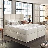 Sonic - Polsterbett/Doppelbett in Beige Boxspringbett-Look mit Taschenfederkernmatratze Topper Bettkasten (180x200 cm)