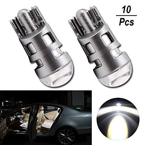 Grandview 10pcs Bianco Super Brillante 501 W5W 194 168 2825 T10 Lampadina a LED con 1-3030-SMD per Luci per Interni Auto, Cruscotti, Lampadine di Posizione, Lampadine per Targhe (DC 9-16V)