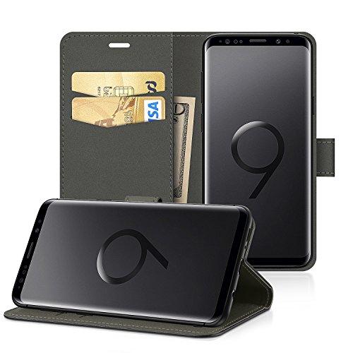 EasyAcc Custodia per Samsung Galaxy S9, Portafoglio in Pelle PU Portafoglio Cover con Tasca per Carta e Copertura Pieghevole Case con Supporto per Samsung Galaxy S9 - Nero