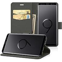 Samsung Galaxy S9 Hülle Case, EasyAcc PU Kunstleder mit Kartenhalter und Faltbare Tasche Handyhülle mit Standfunktion Brieftasche Handy Schutzhülle für Samsung Galaxy S9 5.8'' - Schwarz
