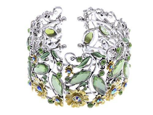 (Alilang Frauen Antik Vintage Süß Blumen Garten Strass Kristall Natur Armband Armreif)