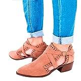 Damen Boots Sandalen Sommer Schnalle Mid Blockabsatz Cut Out Hohl Süße Spitze Elegant Sexy Mode Sandal Schuhe Leder Stiefel 35-43