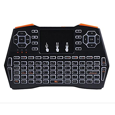 Kobwa Wireless Mini Tastatur I8plus + 2.4GHz Mini Wireless Keyboard mit Multi-Touch-Pad, LED Backlit Silent Handheld Wireless Romote Mini-Tastatur für Desktop-PC, Laptop, Tablet, Projektor, Android TV-Box
