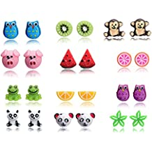 b0ed231fa4fc Fsmiling Colores Resina linda Animales Fruto Set Pendientes Para niños  niñas ...