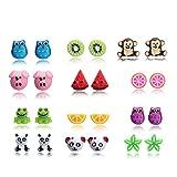 12 Paar Ohrstecker Lustig Tiere Obst Ohrringe Stecker Set für Mädchen Kinder Nickelfrei
