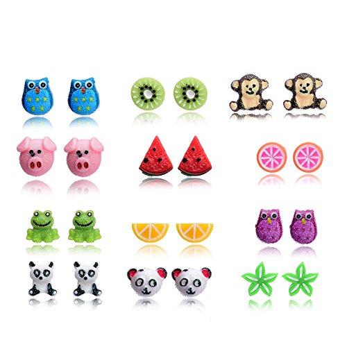 ustig Tiere Obst Ohrringe Stecker Set für Mädchen Kinder Nickelfrei ()