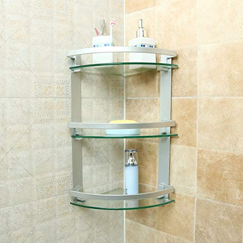 JIANGJIE 3 Tier Glas Bad Dusche Caddy Eckregal Organizer Rack Aluminium Shampoo Regal Halter -