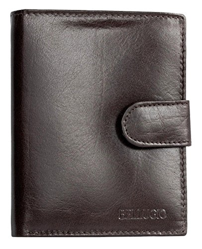 Herren Braunes Leder Portemonnaie - Geldbörse mit einer Klemme Vertical