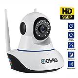 Obqo IP WiFi P2P Cámara Video Vigilancia IR Nocturna HD 960P 1,3 Megapixels con Micrófono y altavoz, con detección de movimientos,Resolución HD (1280
