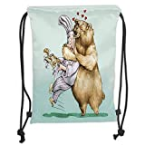 DANCENLI Drawstring Sack Backpacks Bags,Cartoon,Big Bear Fully Hugs The Pastry Animal Love Humor Satire Romance Theme Artful,Cream Blue Grey Soft Satin,5 Liter Capacity,Adjustable String Closure