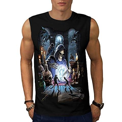 Reaper Crow Spell Dark Grim Face Men Black XL Sleeveless