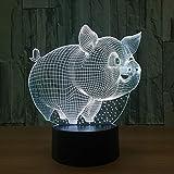 PDDXBB Lampe De Table Modèle 3D Cochon LED USB Lumière De Nuit À Induction Mode...