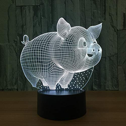 PDDXBB Tischlampe Modell 3D Schwein Led USB Nachtlicht Induktion Mode Dekorative Lampe Skulptur Zimmer Sieben Farben 203,4 * 182,5 * Mm (Sitz Schlüssel Riss) (Größe 6 Mädchen Pj)