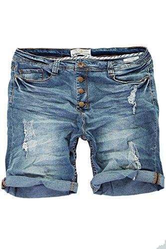 Jeans Kurze Hose Herren Shorts Bermuda Sommer Capri Joggjeans Vintage Denim Blau W29-W38 (W34)