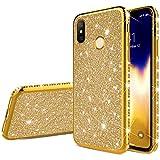 Uposao Kompatibel mit Xiaomi Mi 8 SE Handyhülle Glänzend Glitzer Kristall Strass Diamant Handytasche Überzug Silikon Schutzhülle Tasche Durchsichtige Hülle Backcover Case,Gold