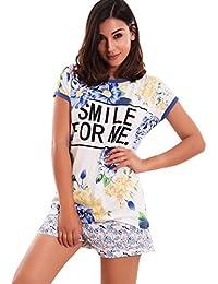 Toocool – Pijama Mujer Flores camiseta texto pantalones lencería lencería ...