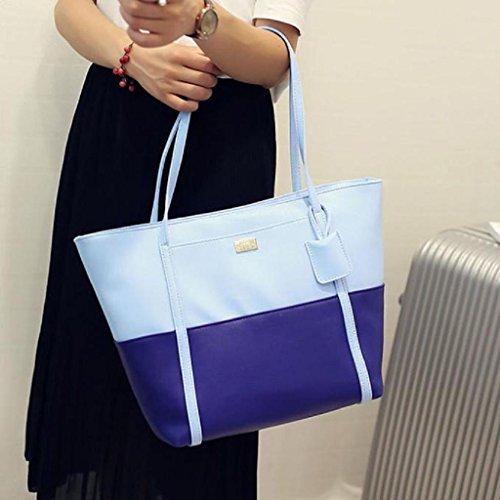 2017 Nuovo Borse donna,Kangrunmy Borsa delle donne colore misto Tracolle in pelle Messenger Blu