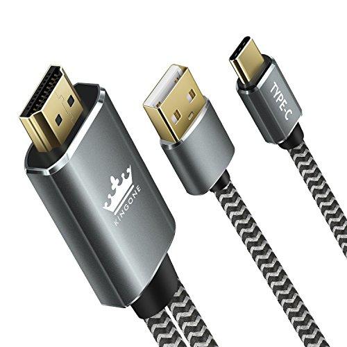 USB C auf HDMI Kabel 4K@ 30HZ, KINGONE USB Type-C zu HDMI UHD TV Kabel für MacBook Pro/iMac/Samsung Galaxy S9 S8 Plus, Note 8/Huawei Mate 10Pro (USB-C auf HDMI Ladegerät) -