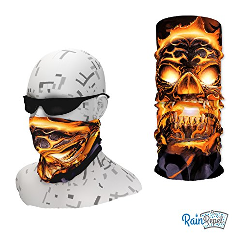51UdwMiaBOL. SS500  - Loopy Tubes Flaming Skull Design Face Shield. Multi-Functional Headwear/Bandana/Neck Gaiter
